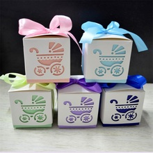 Hollowing Out Baby Carriage Infant Footprints Shape <strong>Paper</strong> Gift Boxes Wedding Candy Box