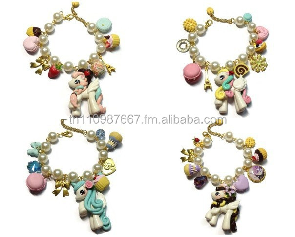 Bracelet Charm Unicorn Clay and Sweet Deco Clay Chain Pearl beads link