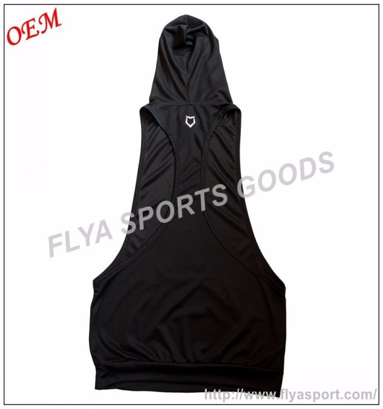 2018 Amazon hot sell mens sexy black stringer deep cut fitness tank top hoodie
