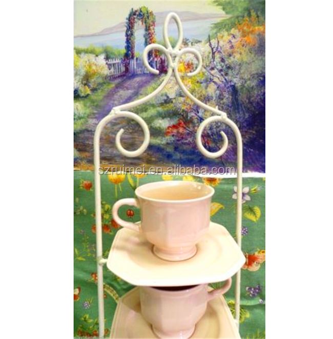 Metal table 3 tier wedding cake display stand tiered tea cup stand