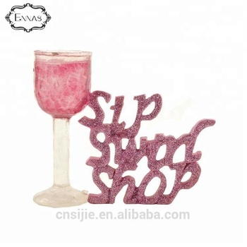Decoration resin crafts champagne glass with custom words