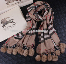 Winter Wear Fashion Rabbit Fur Ball Scarf Real Fur Shawl