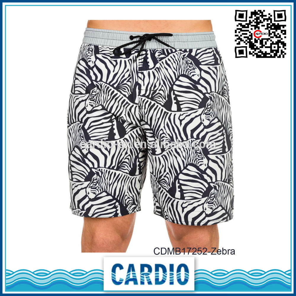 100% ripsuede polyester Zebra print mens volleyball beach sports shorts