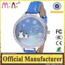 Korea new 3D penguin with rolling pearl Winter Wristwatch for teenage geneva gold watch