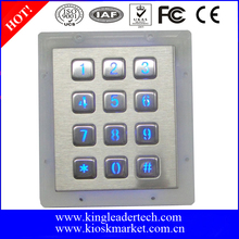 Backlight keypad door control accessment 3x4 matrix 12keys metal keypad
