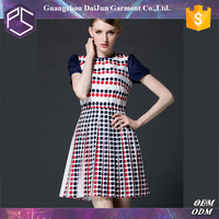 Daijun oem fashion breathable short sleeve printing official dresses for women