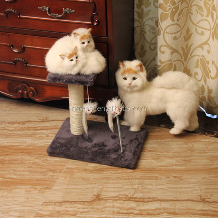 Super quality best selling soft cat tree waving cat toy cardboard cat scratcher with ball or mouse