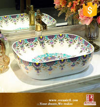 Newest design home furniture Beautiful Porcelain rectangle chinese ceramic basins sink
