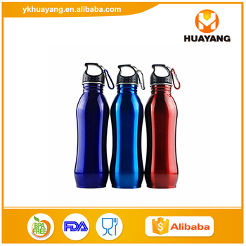 750ml/25oz Metal Sports water bottle with climbing carabiner