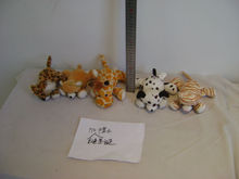 20cm promotional customized lying plush christmas leopard/bear/giraffe/dog/tiger wild animal toy with christmas hat,scarf