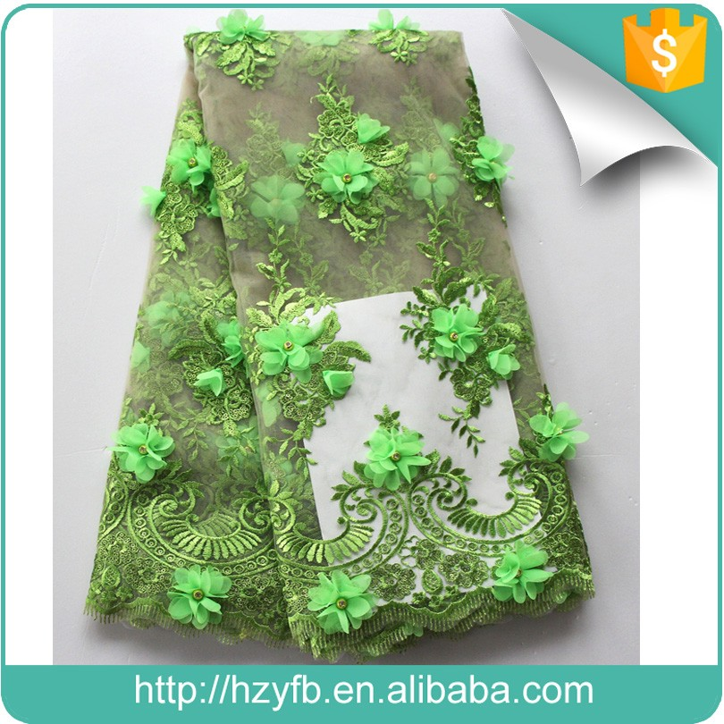 2017 green color sequin net french lace 3d flower fabric for nigerian big party