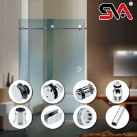 10mm/8mm clear sliding glass frameless shower door with stainless steel hardware