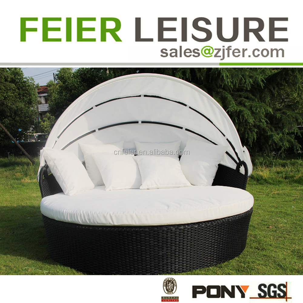 Outdoor outdoor furniture double sun lounger bed with canopy