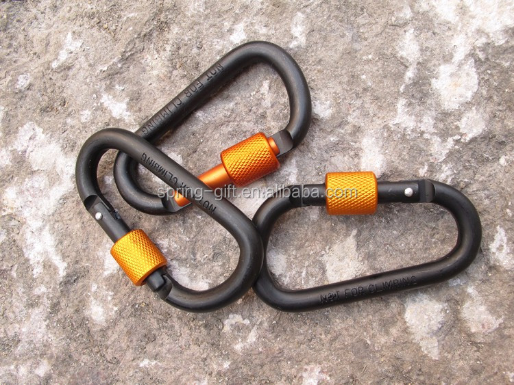 Outdoor Safety Buckle With Lock Aluminium Alloy Climbing Carabiner Camping Hiking Hook