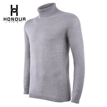 New Design Men Turtleneck Solid Color Pullover Slim Fit Wool Knitting Model Sweaters