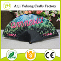 23cm solid color fabric folding hand fans with plastic ribs