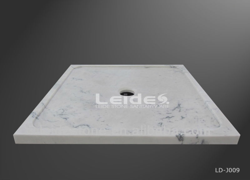 White marble freestanding shower tray