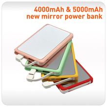 2017 4000mah 5000mah portable female gift mirror power bank