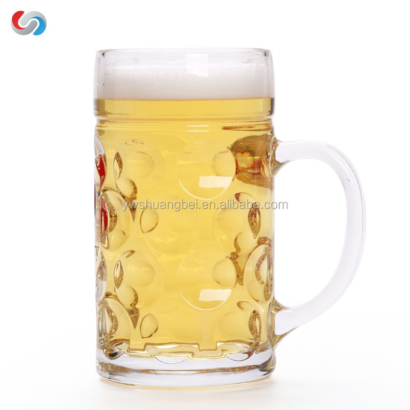 1L beer glass large beer mug big glass cup for drinking water with logo