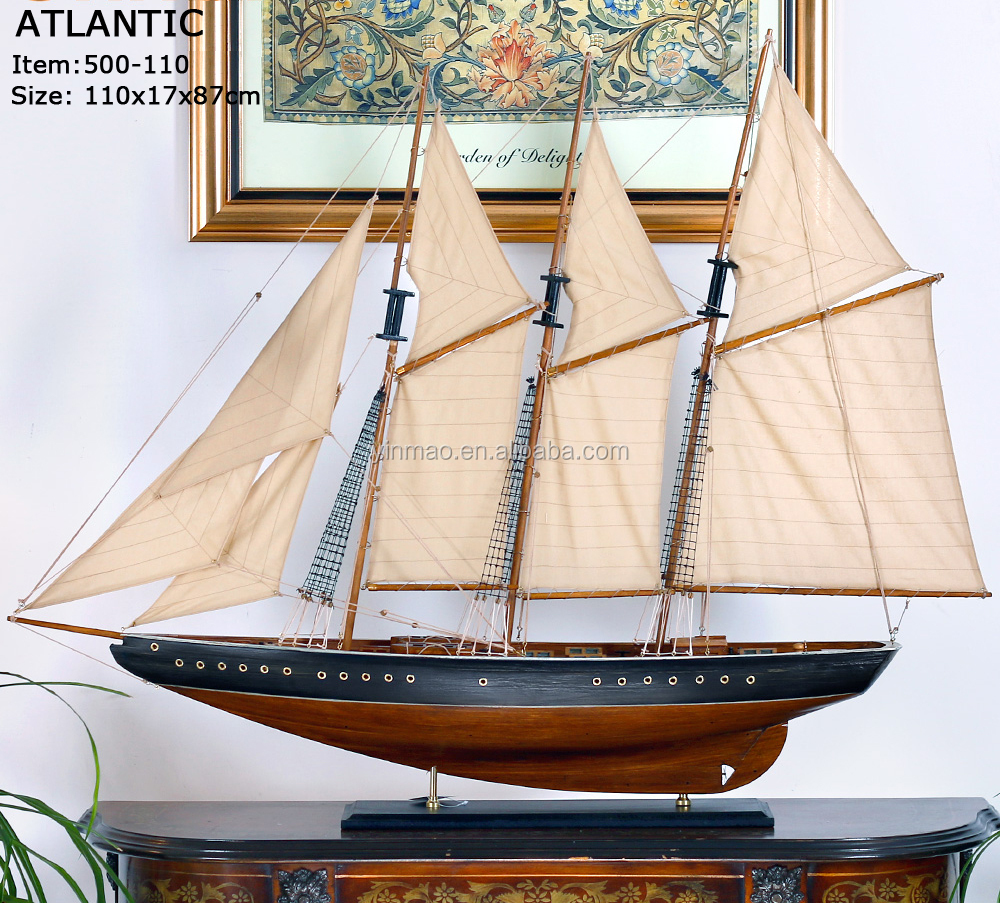 "110cm length wooden sailing ship model ""ATLANTIC"", antique brown finish America boat model, home collection"