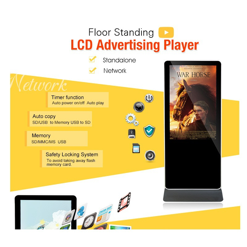 55inch iphone shape wall mounting LCD 3g/wifi/network digital sinage player