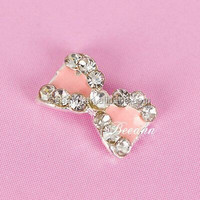 PINK GLITTER NAIL ART DESIGNS &ALLOY DIY BOW TIE NAIL ART IN ARTIFICIAL FINGER NAIL ART