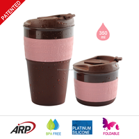 350ML Originality Various color travel accompanying BPA FREE custom cheap collapsible silicone coffee cups