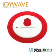 Silicone rim tempered glass lid for different kinds of pot