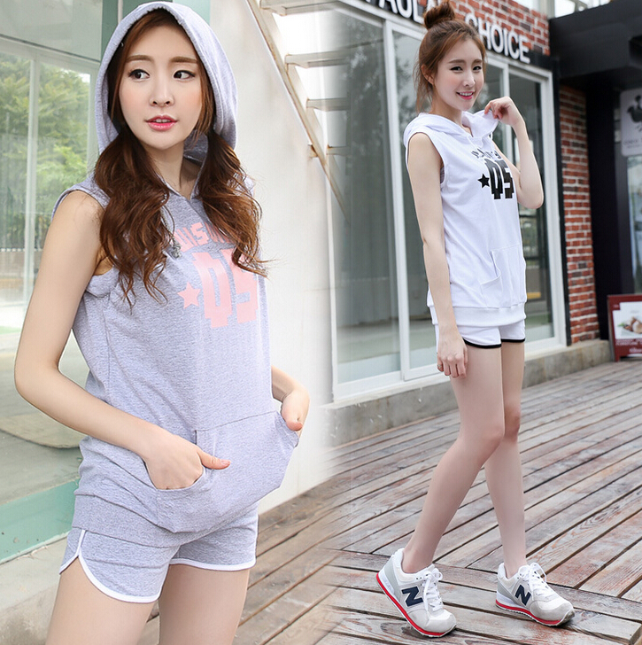 FASHION SLEEVELESS T SHIRTS WITH HOOD FOR LADY SPORTS T SHIRTS