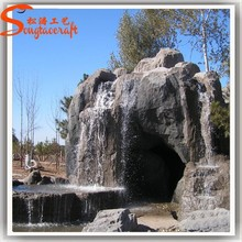 Large outdoor artificial fiberglass decoration waterfall rocks for gardens