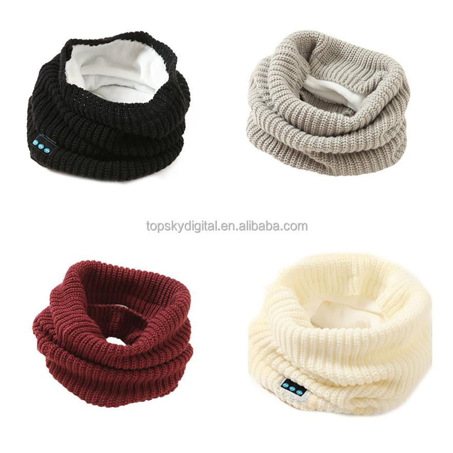 Knitted Material Fashion Design Bluetooth V3.0 Soft Scarf Wireless Bluetooth Smart Scarf Headset Headphone Speaker Mic