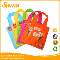 Promotional 210D polyester folding shopping recycle bag