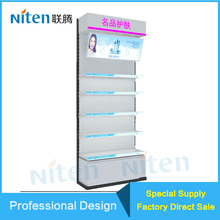Cosmetic Makeup Products Store Dispaly Showcase Acrylic and Metal Material Length and Width Adjustable Retail Store Rack Makeup