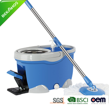 China Suppliers Clean Bucket System Mop With Extended Handle /Stainless Steel Basket 2 Microfiber Mop Heads