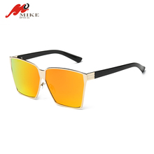 Flat Top Big Sunglasses Women Men Metal Shades High Quality Oversized Sun Glasses