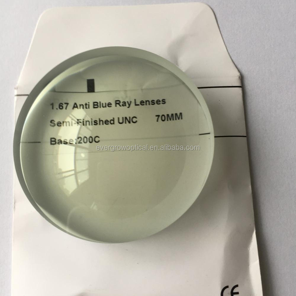 attractive design 1.67 semi finished unc blue cut lens