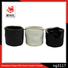 Round black ceramic flower pot white pots