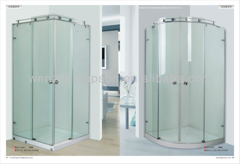 stainless steel square glass frameless standing shower room