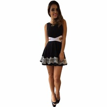 New Fashion Ladies Smart Casual Women's Solid Top Black <strong>Dress</strong> With Hollow Waist