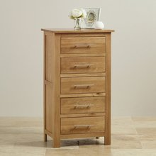 Furniture and Furnishings Natural Solid Oak Tall 5 Drawer Chest