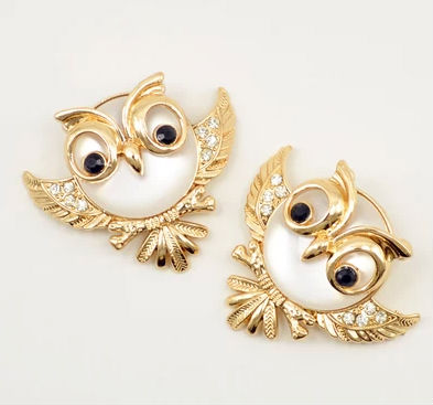 metal rhinestone owl shoe clip jewelry metal animal shoe accessory gold oval shoe clip