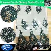 BZ-DL Hand work beaded embroidery net lace fabric for wedding dress lace fabric