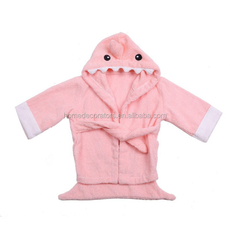 Cute Baby Bath Robe Pink Shark Bath Robe Kids Bath Robe