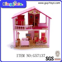 Wooden DIY children's small doll house and mini furniture toy set , miniature doll house , barbie doll house