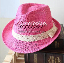 New product hot selling fashion pink paper straw fedora hat