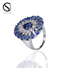 Popular fashion brass Gemstone ring neelam stone ring G-14256