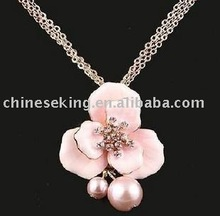 pink flower pendant necklace, POP korea style jewelry,costume jewelry