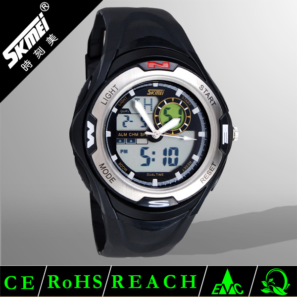 big face black power reserve double movement digital ring watch for teenage made in china
