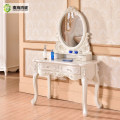 modern ivory white French Design Wooden console table with drawers and mirror