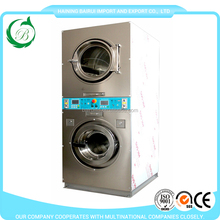 Coin operated stack washer and dryer for laundrette